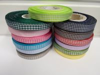 Light baby Blue 2 metres or full roll x 10mm Gingham Ribbon Double Sided check UK